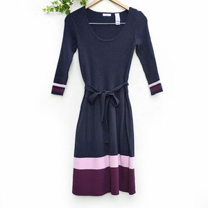 Liz & Co Color Block Cotton Blend Sweater Dress